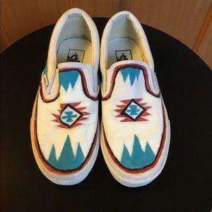 Vans White Painted Slip On Sneakers